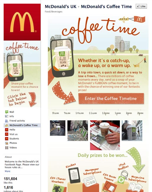 McDonalds Facebook Coffee Time app