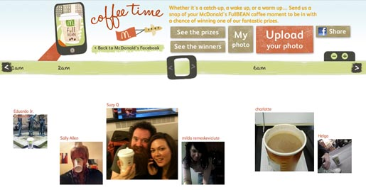 McDonalds Facebook Coffee Time app Timeline