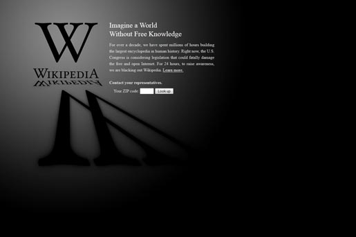 Wikipedia SOPA PIPA Blackout protest