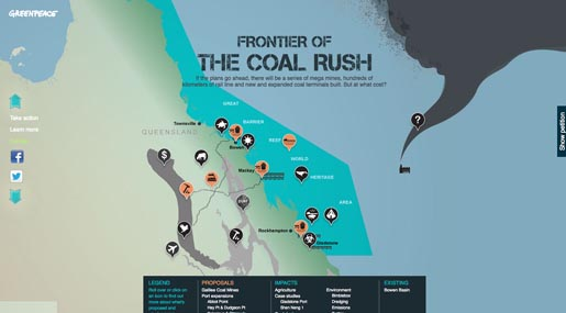 Greenpeace Save the Reef site - Frontier Coal Rush