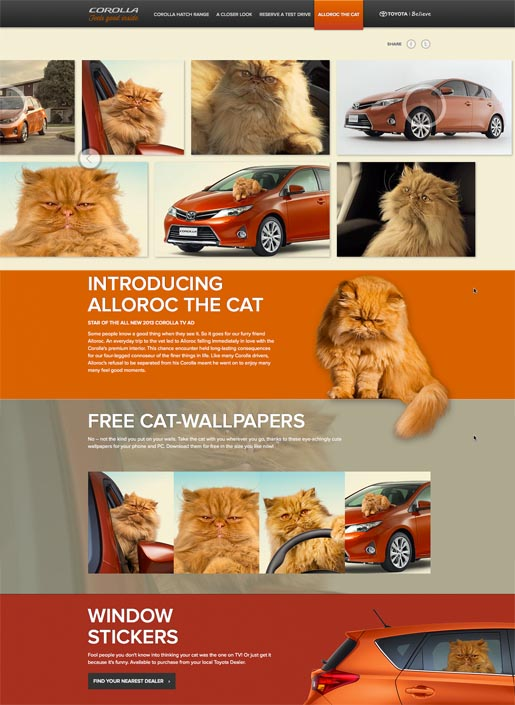 Toyota Alloroc the Cat site