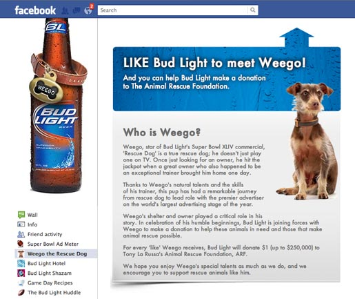 Bud light weego the rescue dog the inspiration room weego facebook mozeypictures Choice Image