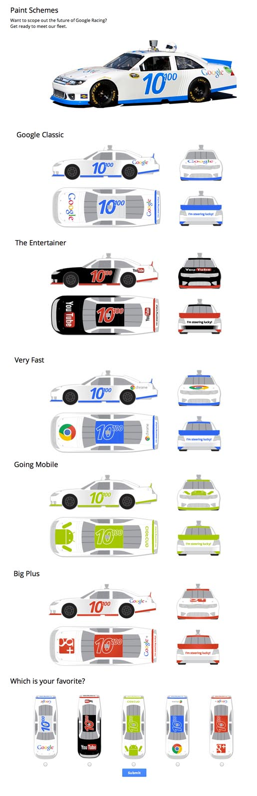 Google Racing Paint Schemes