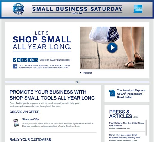 Small Business Saturday site