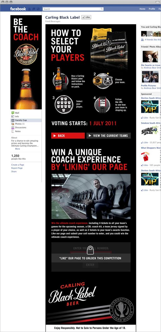 Carling Black Label Be The Coach Facebook page