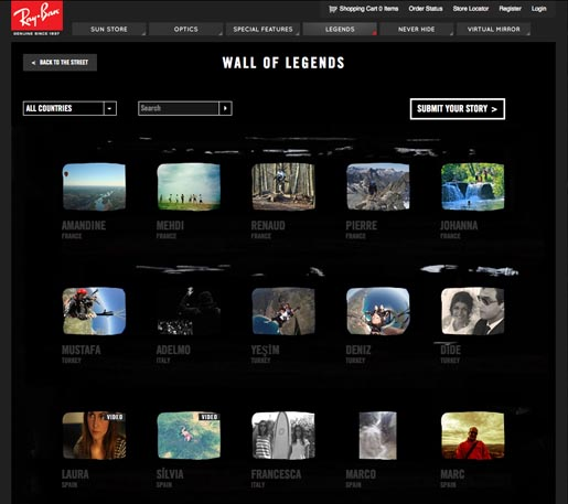 Ray Ban Legends Wall of Legends