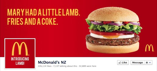 McDonalds NZ Facebook Mary Had a Little Lamb