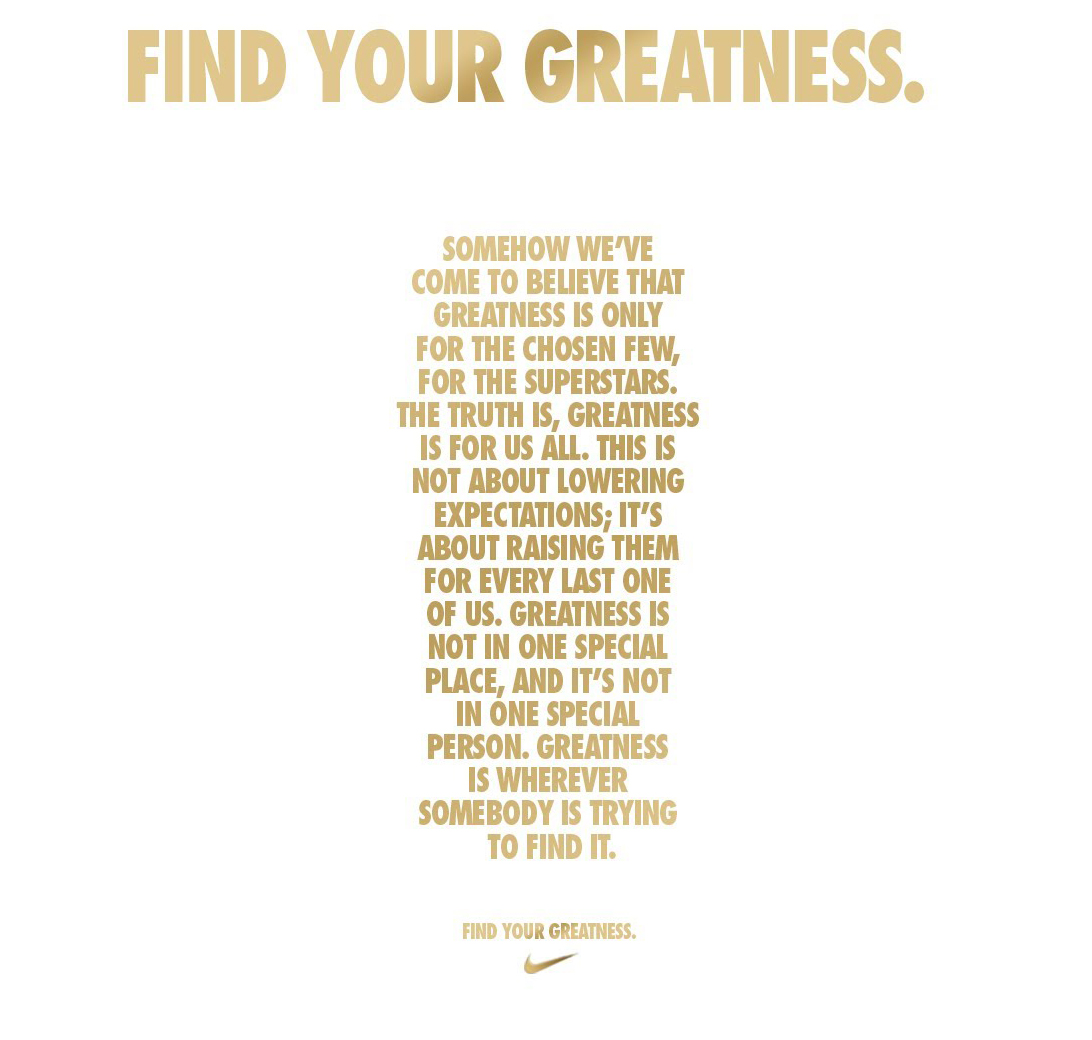 reputable site d5455 4a6dd Nike Find your Greatness - The Inspiration Room