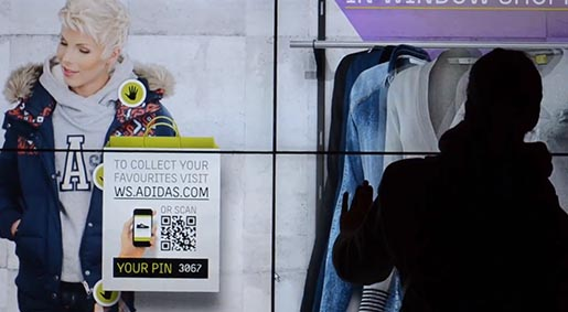 adidas window shopping QR Code and PIN