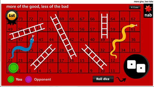 NAB More Less Snakes and Ladders game