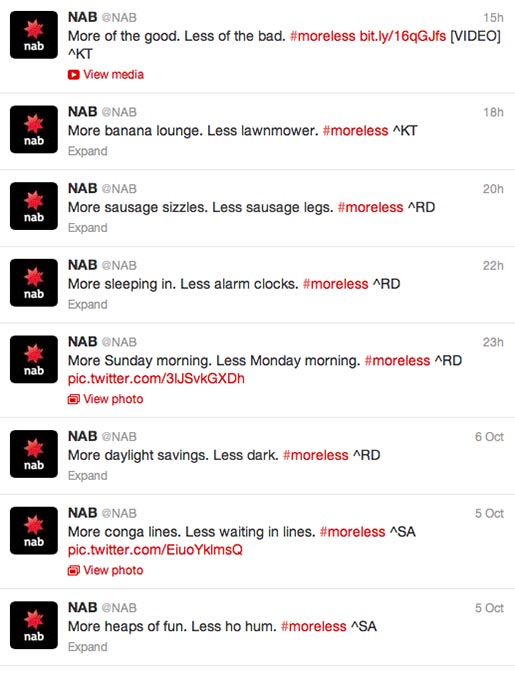 NAB More Not Less Twitter feed