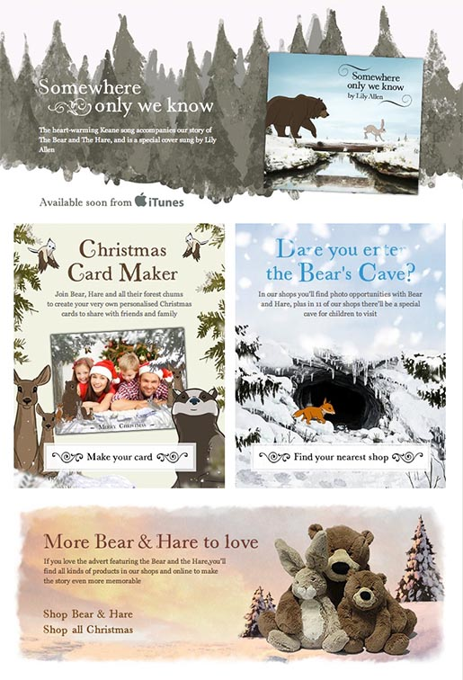 John Lewis The Bear and the Hare interactive site