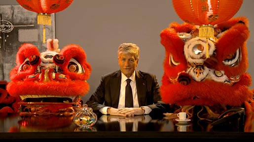 Publicis Groupe Maurice Levy with 2 dragons
