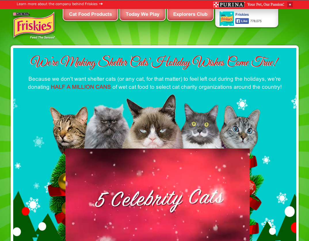 , which are : http://friskies.com/holiday and http://ifyoufeedme.com