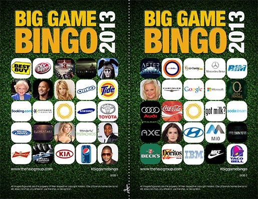 Big Game Bingo cards