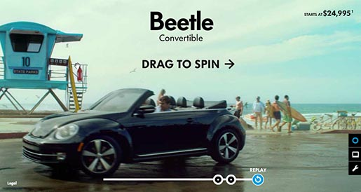 Volkswagen Beetle Convertible site Drag to Spin
