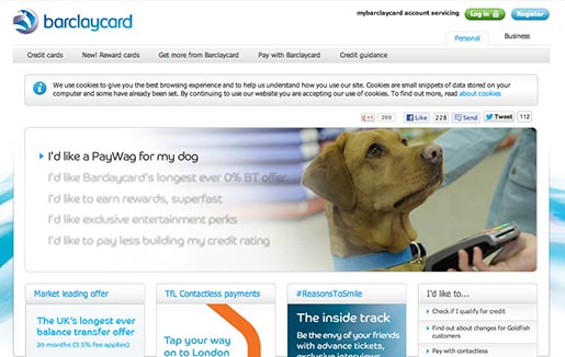 Barclaycard Pay Wag site