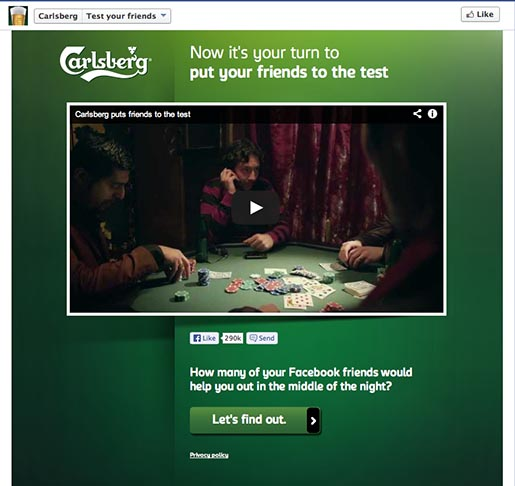 Carlsberg Test Your Friends Facebook app