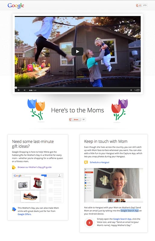 Google Here's To The Moms site