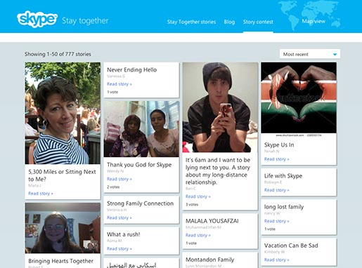 Skype Stay Together contest stories