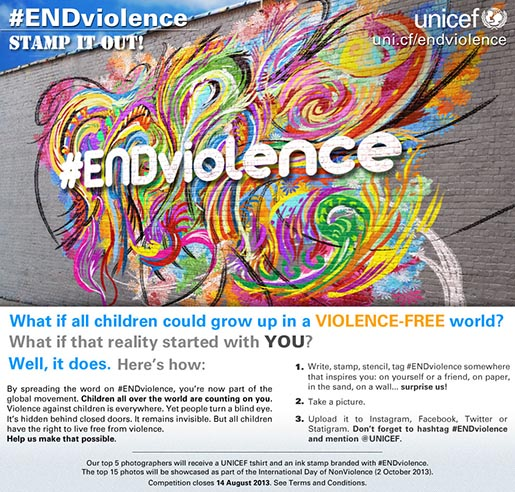 UNICEF Stamp It Out #EndViolence Instagram photo contest