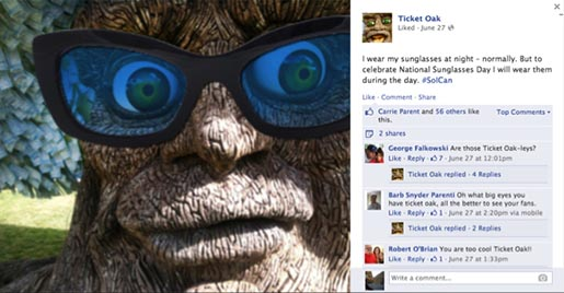 Stubhub Ticket Oak Facebook Sunglasses