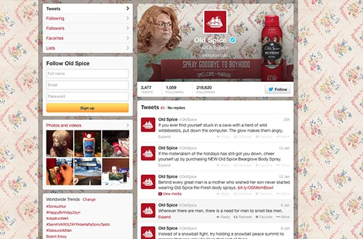 Old Spice Smellcome to Manhood Twitter page