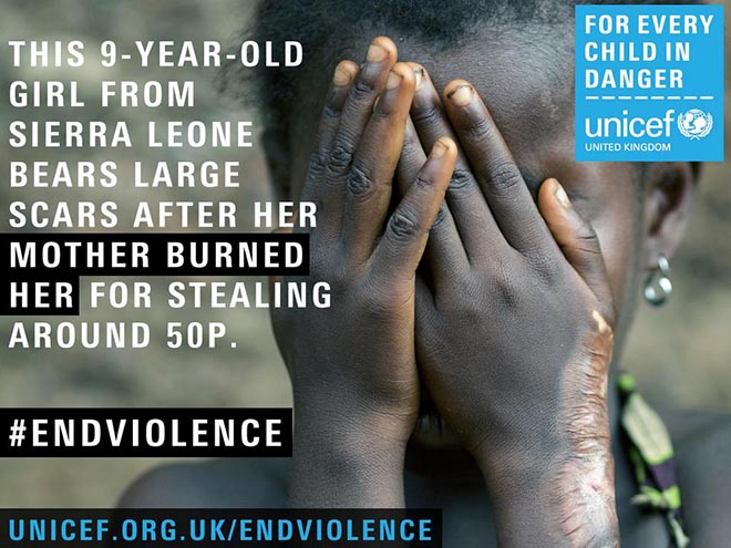Unicef #EndViolence Twitter pic