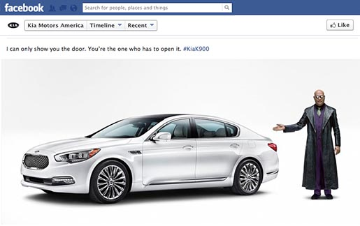 Kia Facebook page with Morpheus