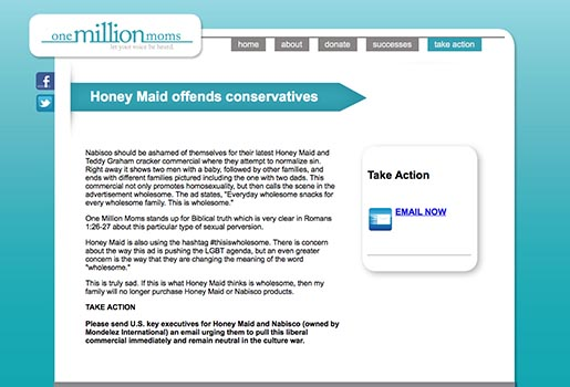 One Million Moms - Honey Maid Offends Conservatives