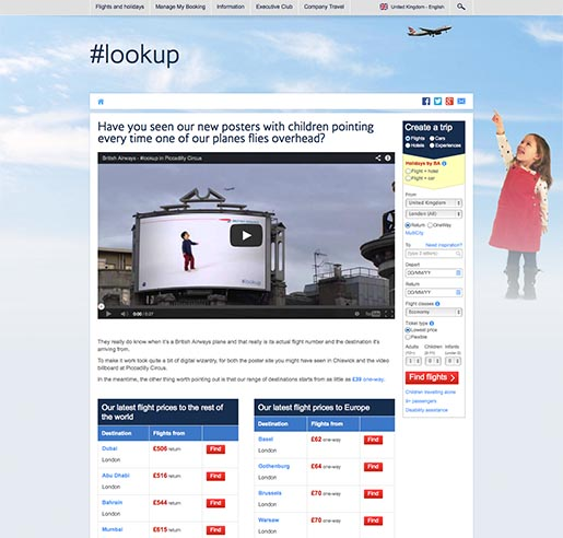 British Airways Magic of Flying site