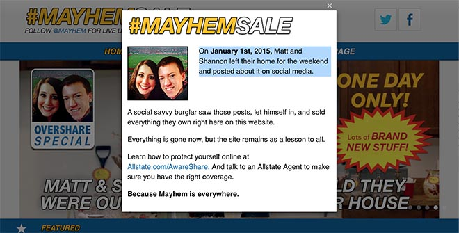 Allstate mayhemsale.com sold items
