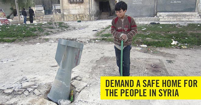 Amnesty Demand a Safe home for the people in Syria - bomb
