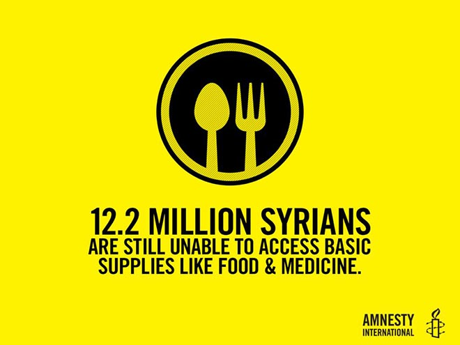 Amnesty 12.2 million Syrians don't have access to food and medicine