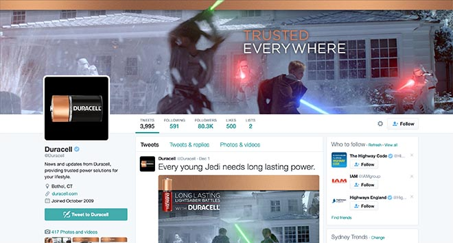 Duracell Star Wars Twitter post