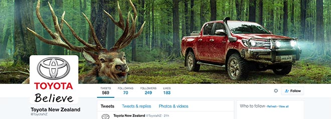 Toyota NZ Twitter channel with deer