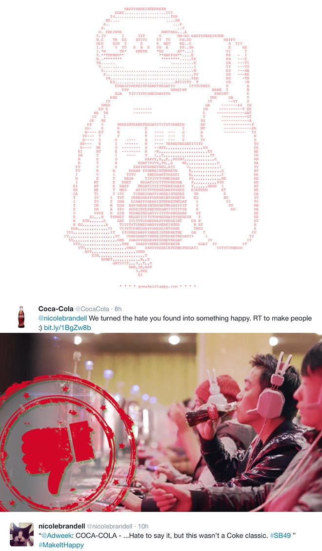 Coca Cola Maket It Happy site AdWeek Tweet
