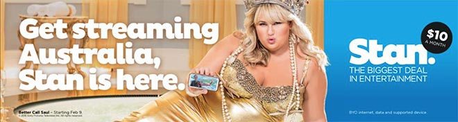 Rebel Wilson on Stan billboard