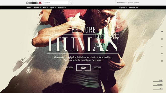 Reebok Be More Human site