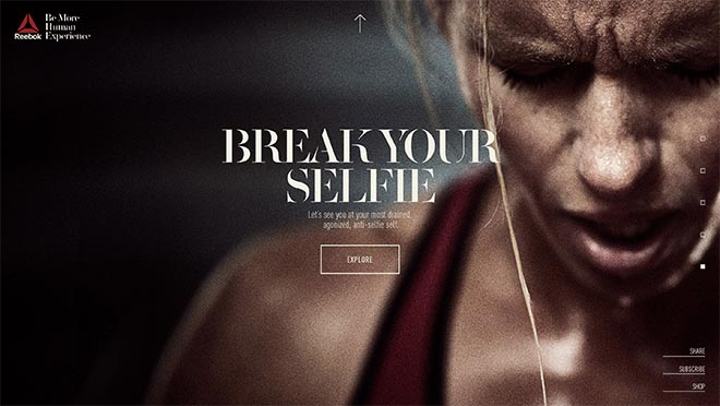 Reebok Be More Human site - Break Your Selfie