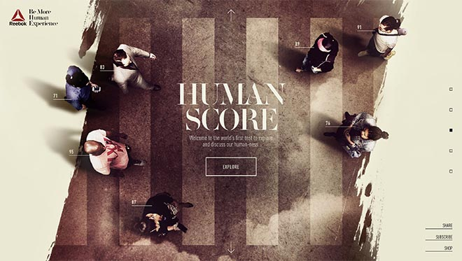 Reebok Be More Human site - Human Score