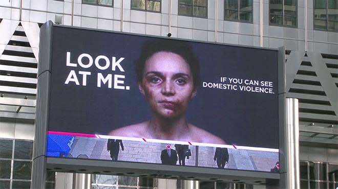 Look at me if you can see domestic violence - Womens Aid billboard