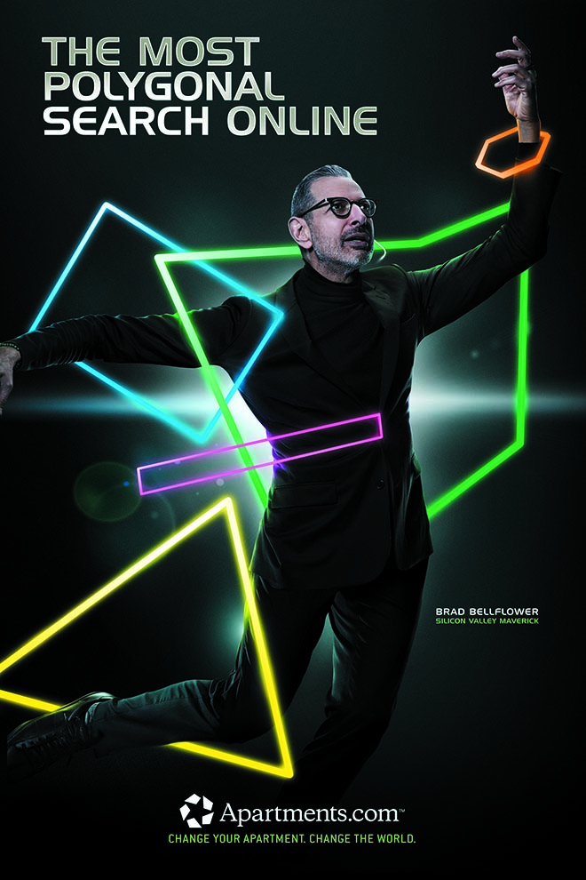 Jeff Goldblum in Apartments.com campaign - Most Polygonal Search Online