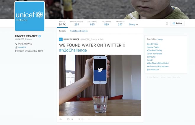 UNICEF France Found Water on Twitter