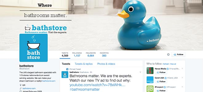 Bathstore Twitter with Blue Duck