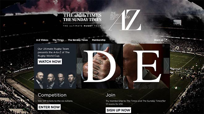The Times A to Z Rugby World Cup site
