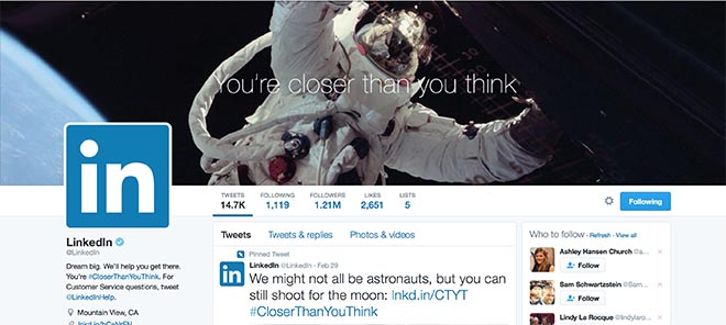 Linkedin Closer Than You Think Twitter page