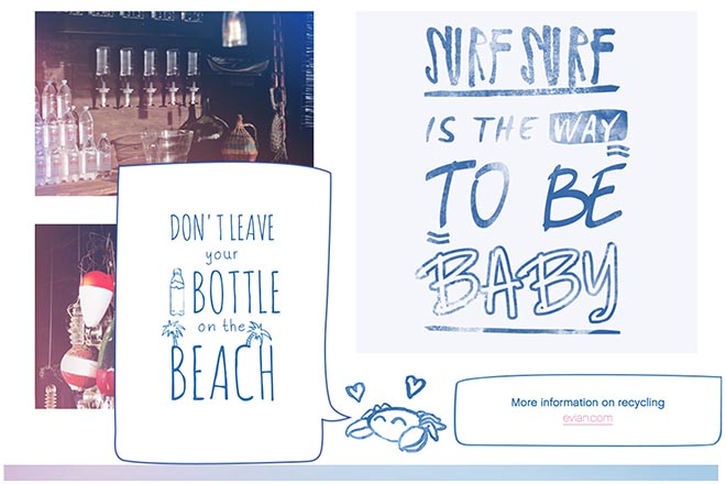 evian surf recycling message