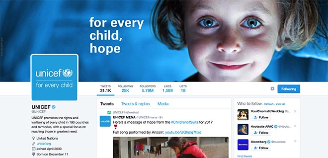 UNICEF For Every Child Twitter