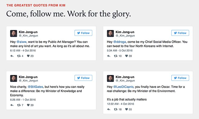 The Greatest Recruit - Twitter quotes by Kim Jong-Un
